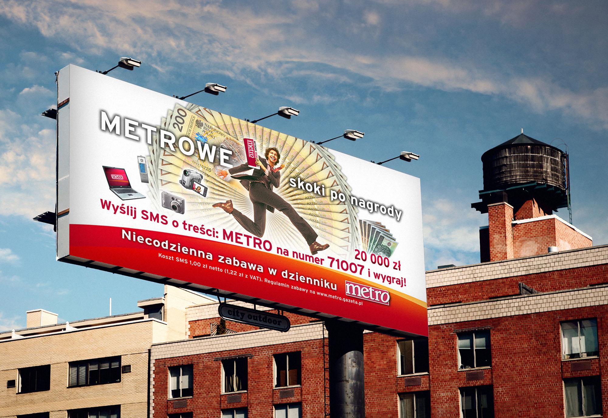 outdoor, plakat billboard reklamowy metro konkurs, projekty graficzne, design newspaper, ilustracja, concept art, key visual, art designer Ireneusz Bloch