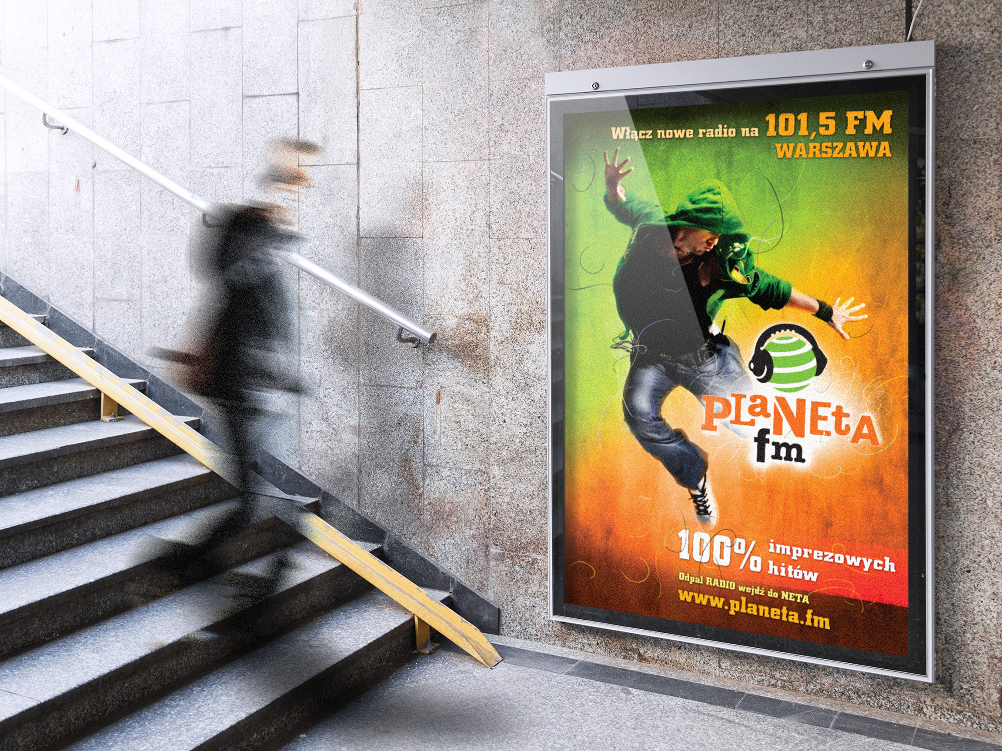 outdoor, plakat reklamowy planeta fm, projekty graficzne, design newspaper, ilustracja, concept art, key visual, art designer Ireneusz Bloch