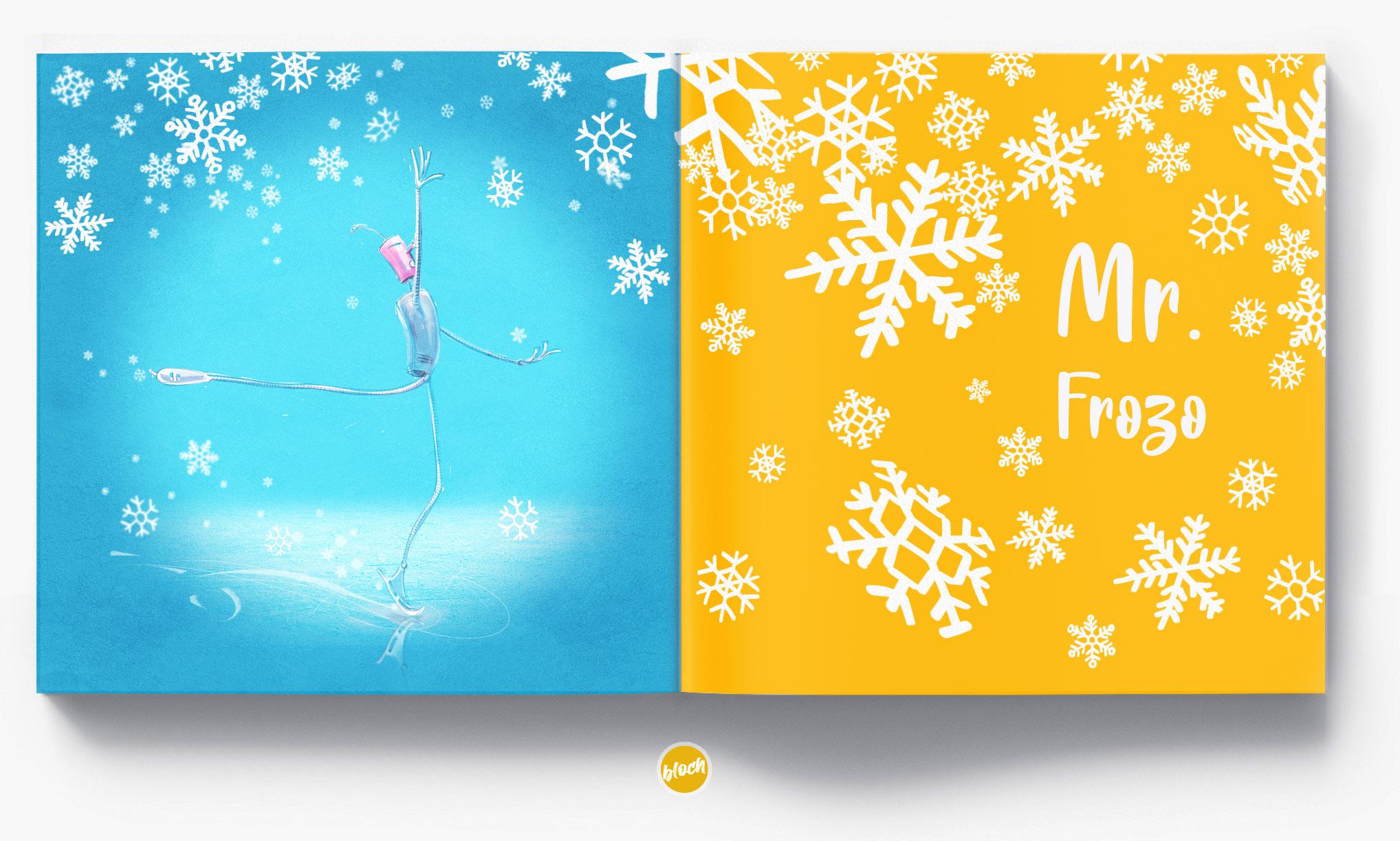 Robot Mr. Frozo,rysunki, ilustracje reklamowe, storyboard, digital draw, ilustracja, rysunek - digital draw, concept art