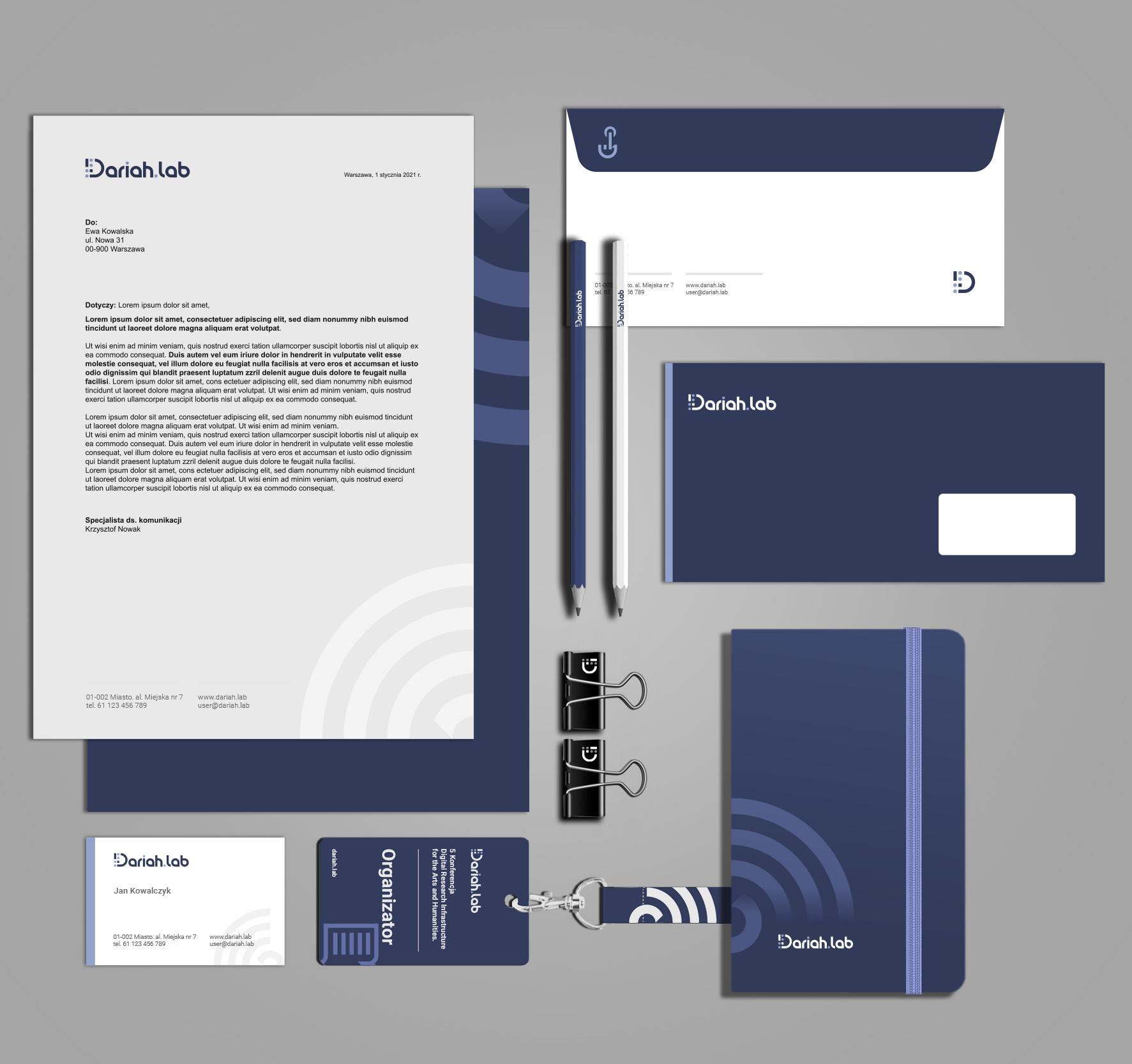 Dariah.lab - Identyfikacja wizualna - akcedensy, gadżety, reklama, design