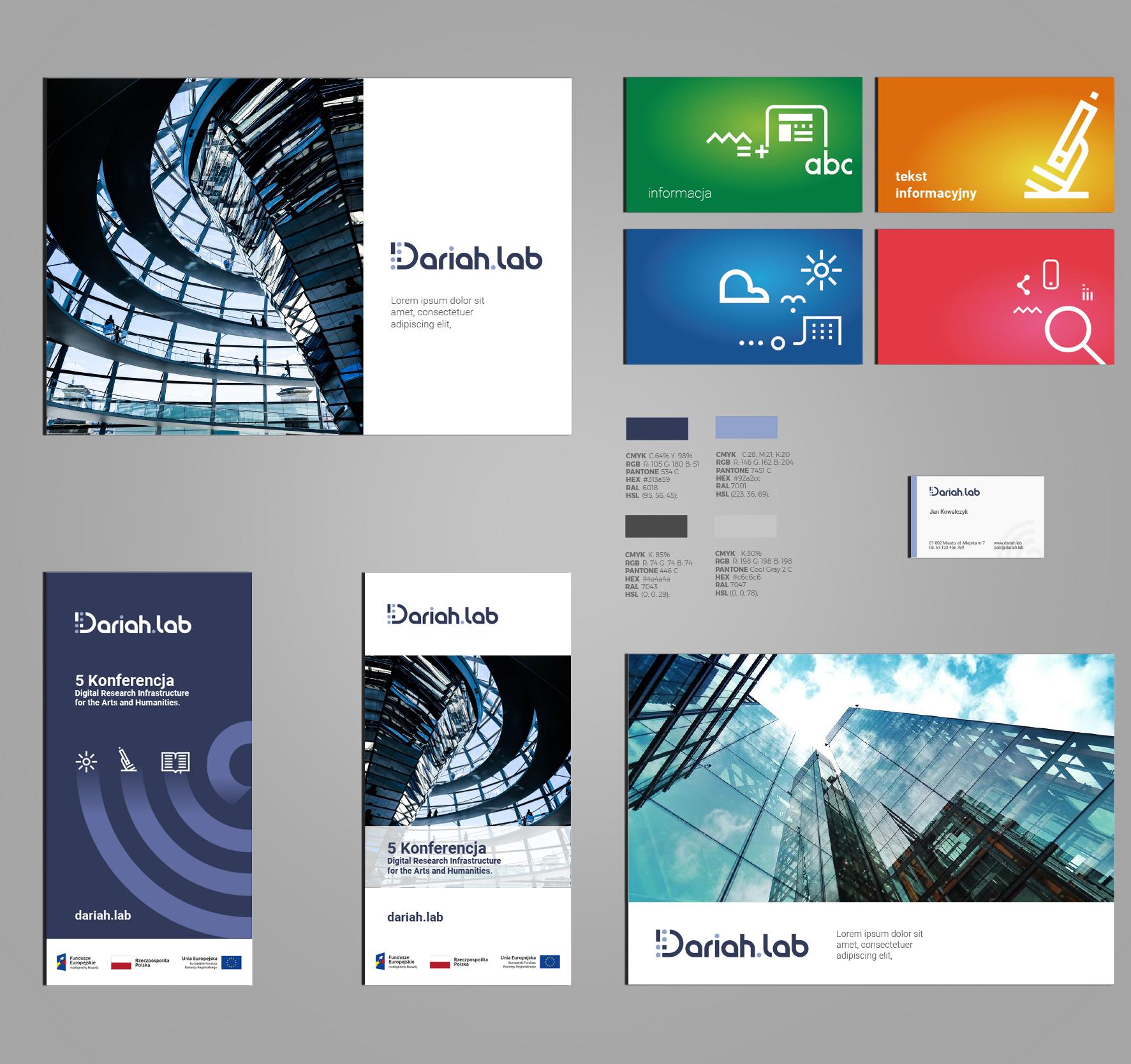 Dariah.lab - Identyfikacja wizualna - foldery, roll up, reklama, design, power point